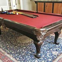 Beautiful AMF Playmaster, 8 foot 3 piece slate table with leather drop pockets, excellent condition